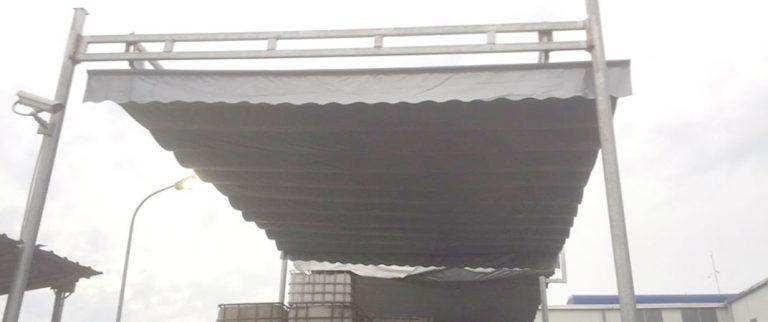Mái xếp lượn sóng che kho hàng KCN Quang Minh mặt trước