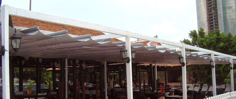 Mái xếp lượn sóng cho nhà hàng
